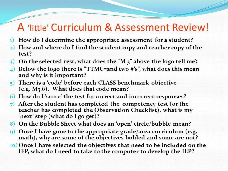A 'little' Curriculum & Assessment Review!