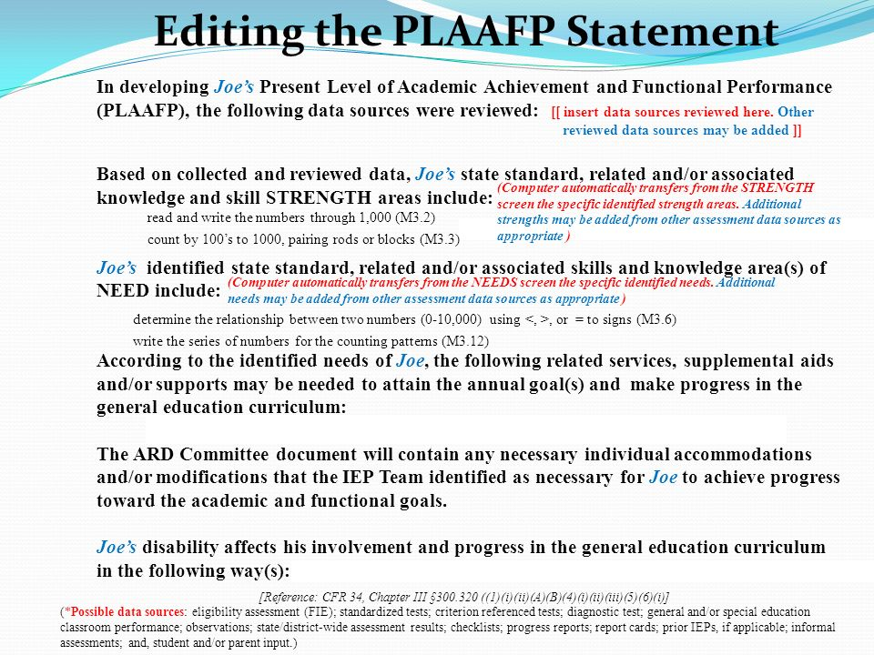 Editing the PLAAFP Statement