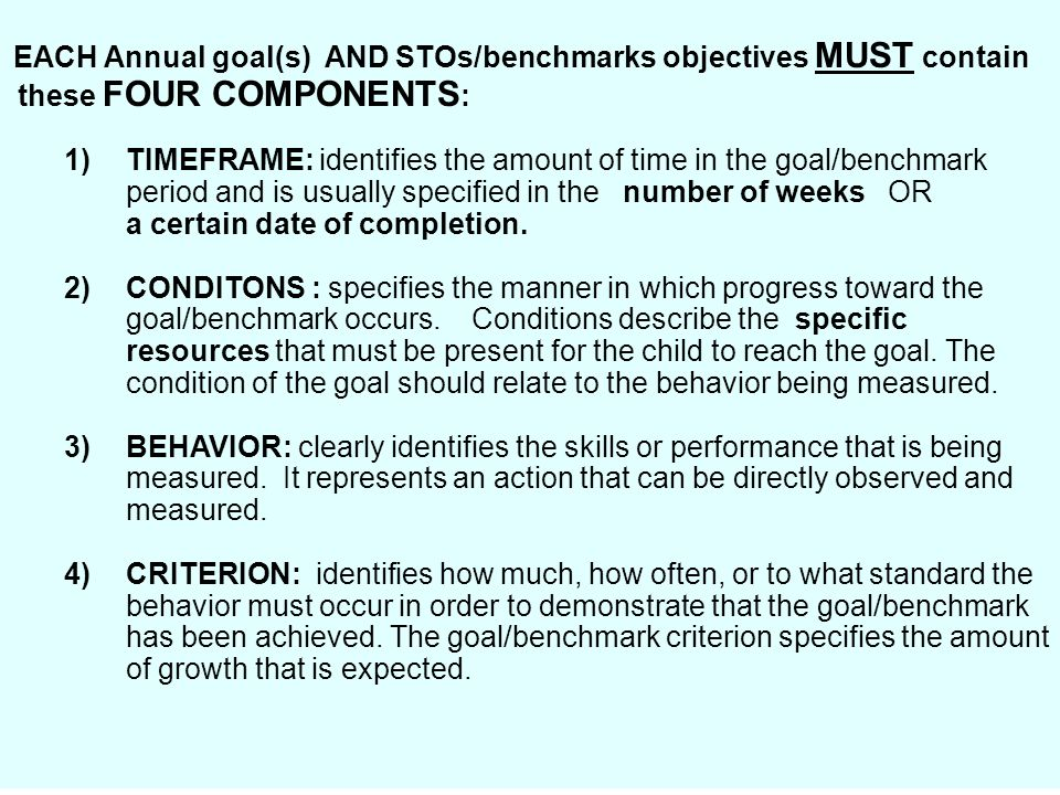 EACH Annual goal(s) AND STOs/benchmarks objectives MUST contain these FOUR COMPONENTS: