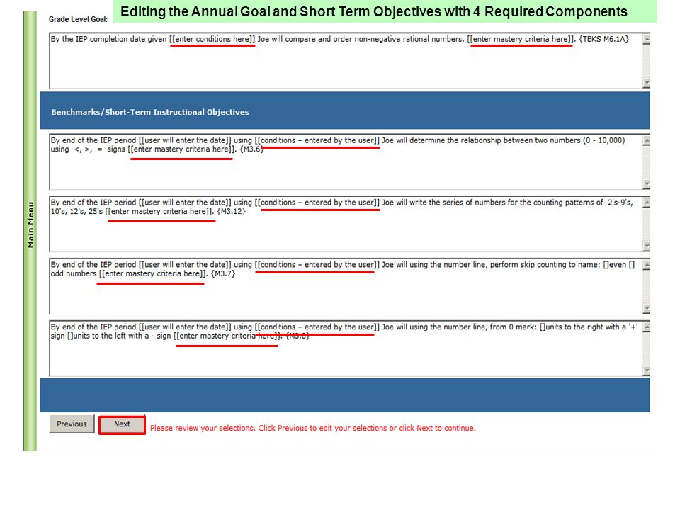 Editing the Annual Goal and Short Term Objectives with 4 Required Components