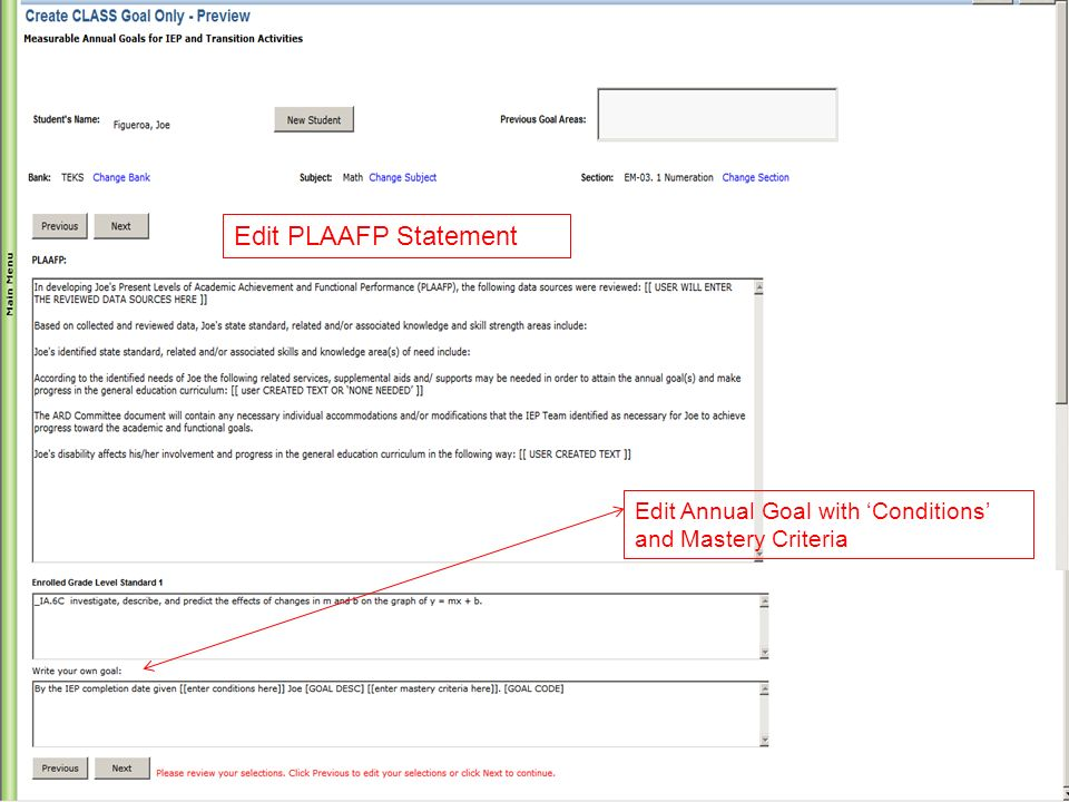 Edit PLAAFP Statement Edit Annual Goal with 'Conditions' and Mastery Criteria