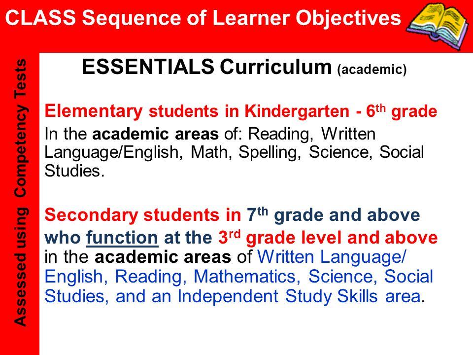 ESSENTIALS Curriculum (academic)