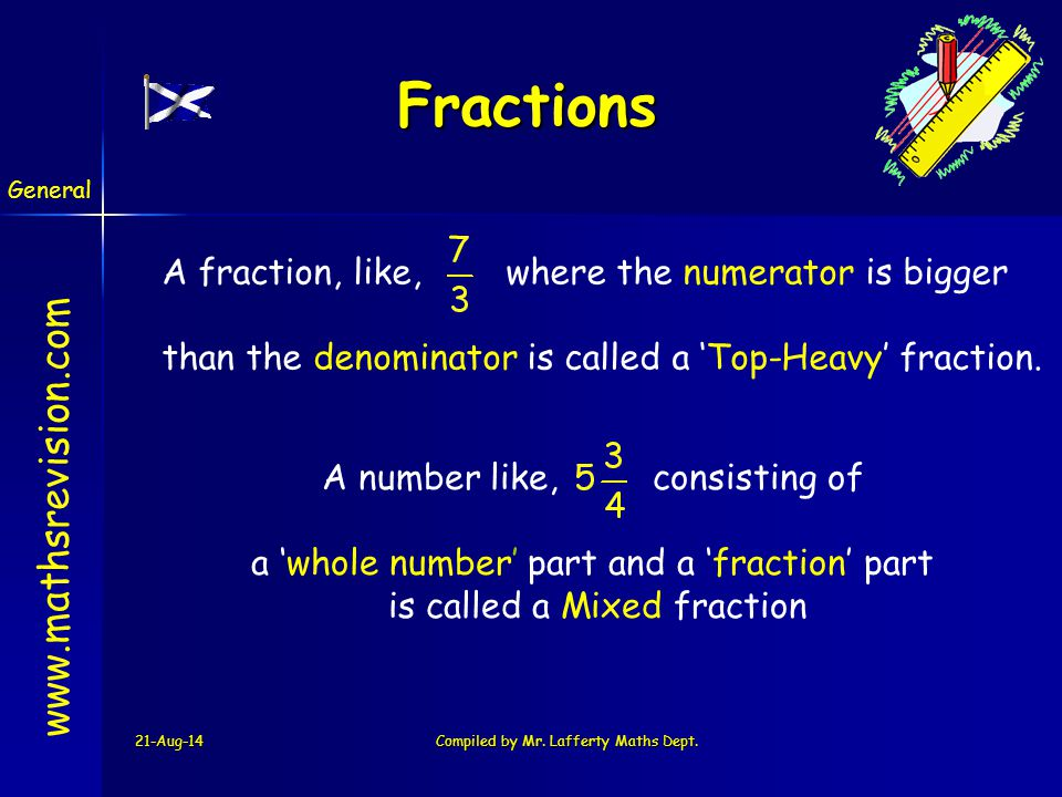 Fractions A fraction, like, where the numerator is bigger