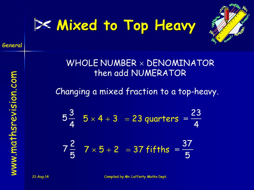Mixed to Top Heavy WHOLE NUMBER  DENOMINATOR then add NUMERATOR