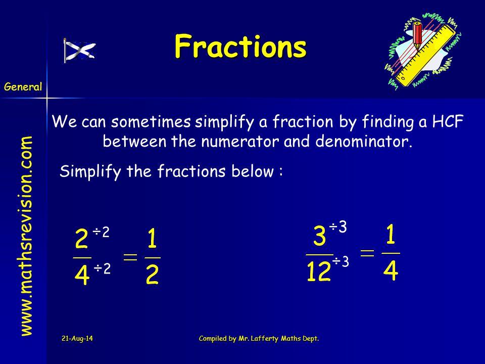 Fractions www.mathsrevision.com