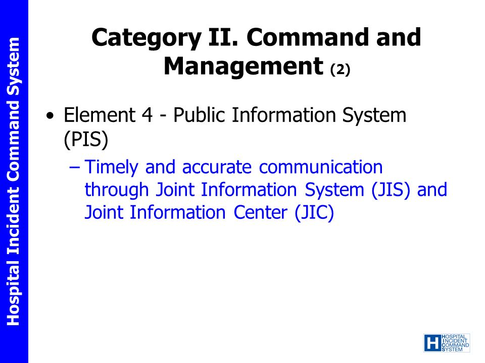 Category II. Command and Management (2)