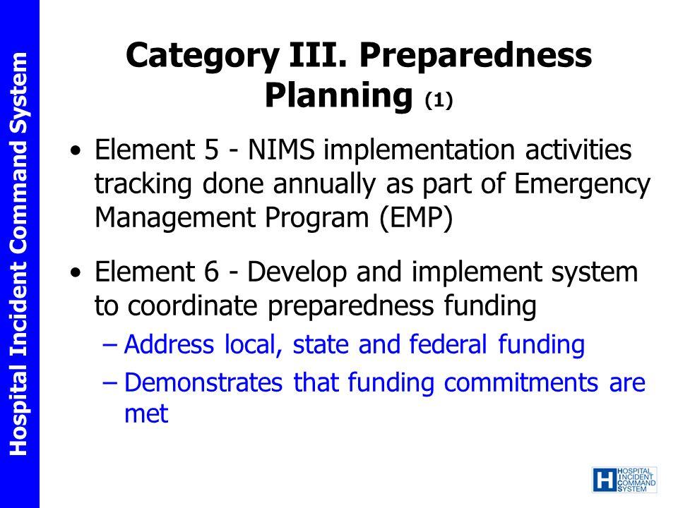 Category III. Preparedness Planning (1)