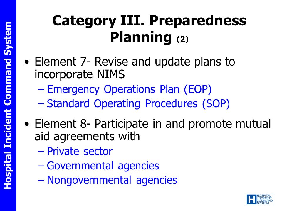 Category III. Preparedness Planning (2)