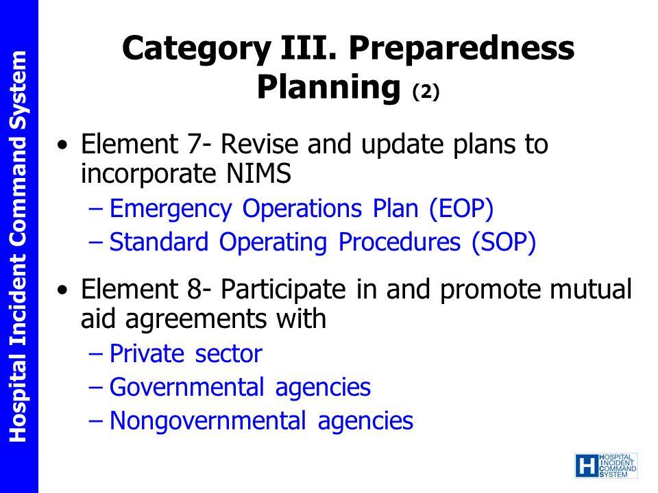 Category III. Preparedness Planning (2)