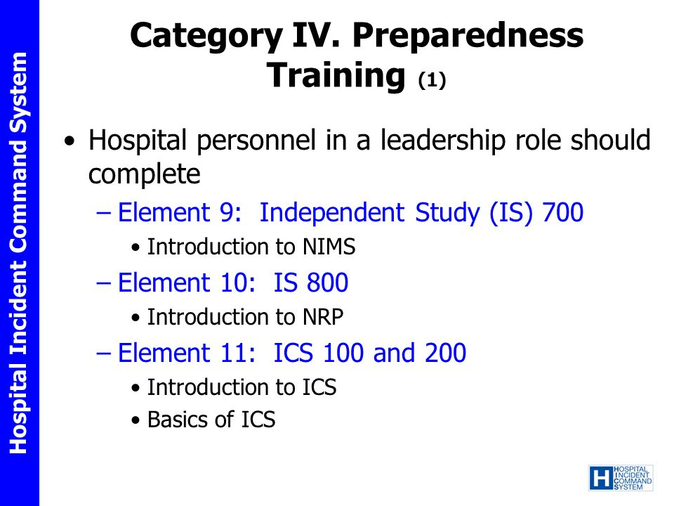 Category IV. Preparedness Training (1)