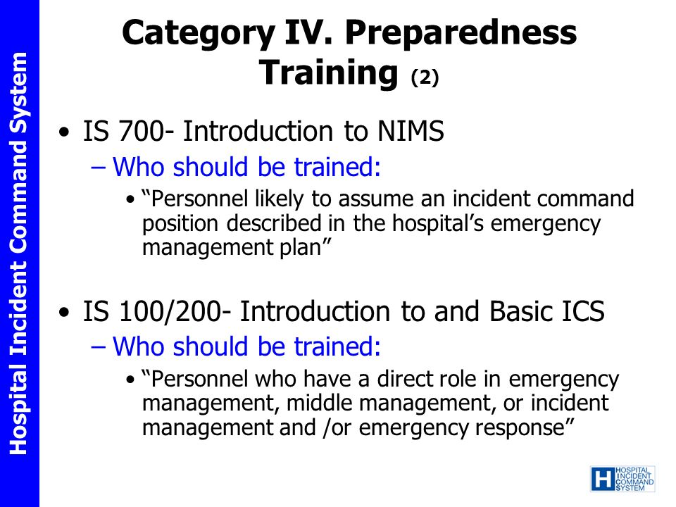 Category IV. Preparedness Training (2)