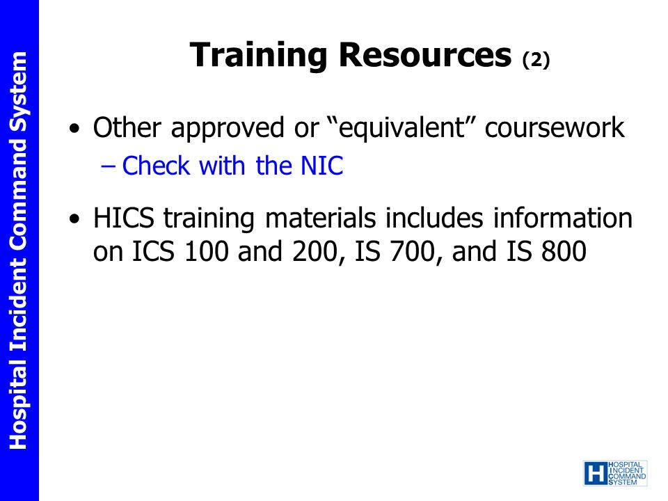 Training Resources (2) Other approved or equivalent coursework