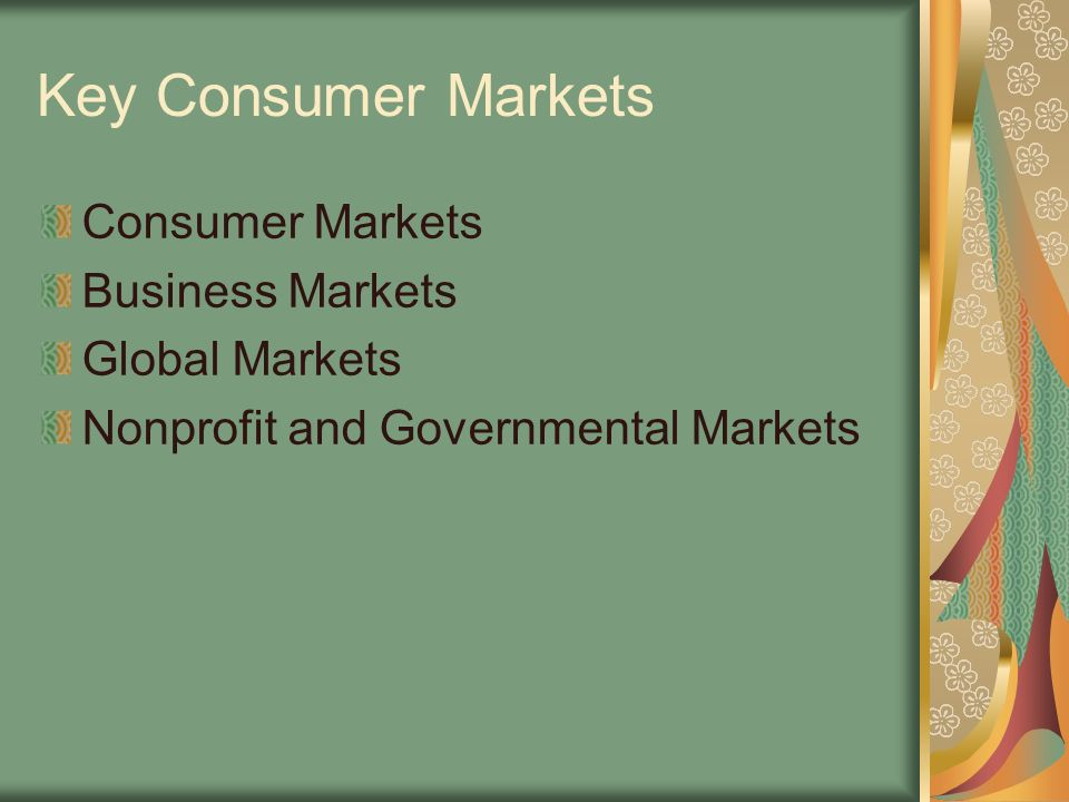 Key Consumer Markets Consumer Markets Business Markets Global Markets