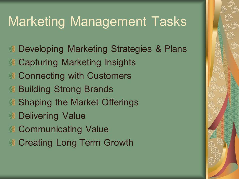 Marketing Management Tasks