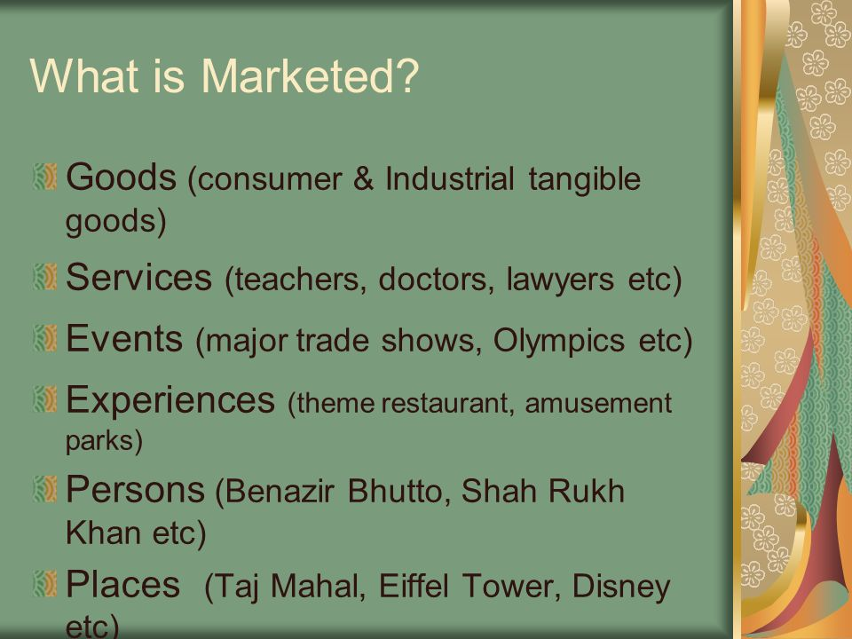 What is Marketed Goods (consumer & Industrial tangible goods)