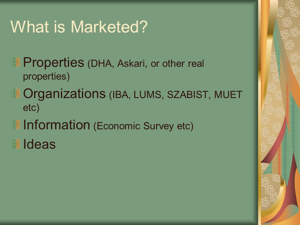 What is Marketed Properties (DHA, Askari, or other real properties)