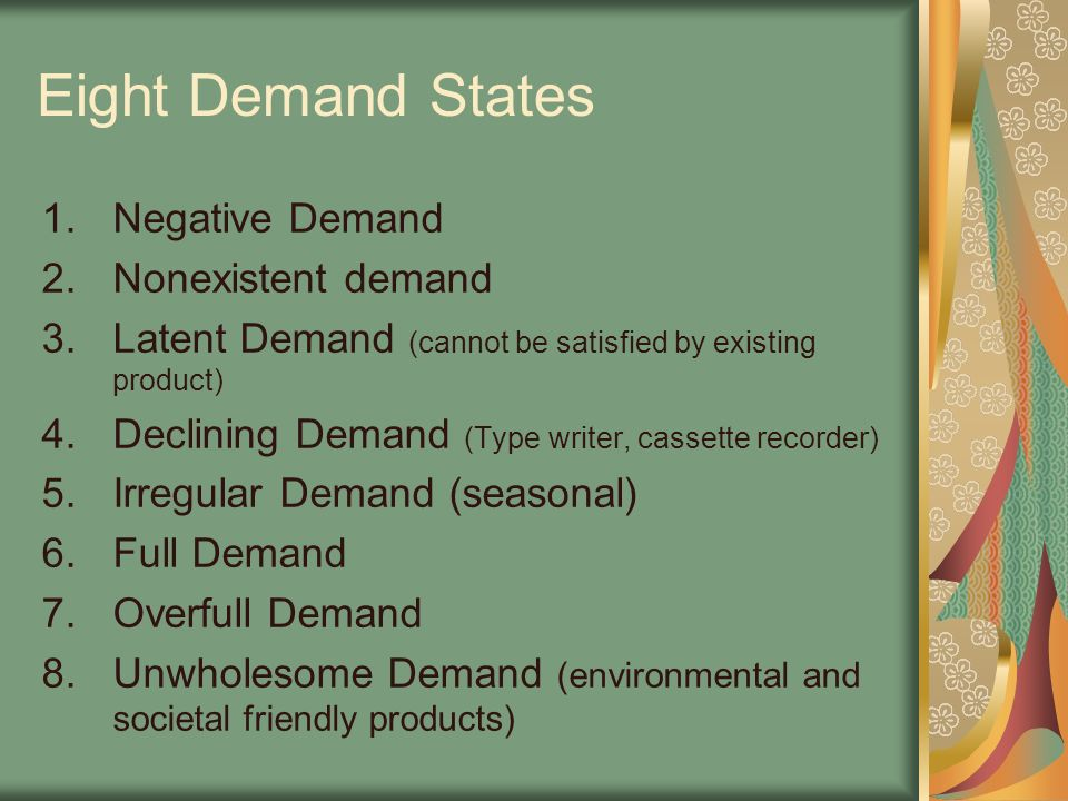 Eight Demand States Negative Demand Nonexistent demand