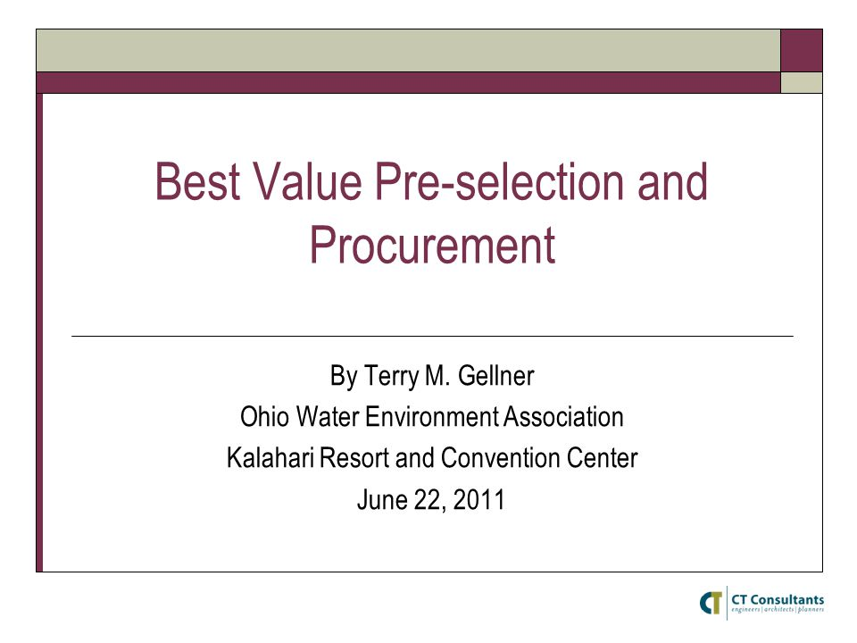 Best Value Pre-selection and Procurement