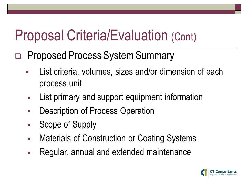 Proposal Criteria/Evaluation (Cont)