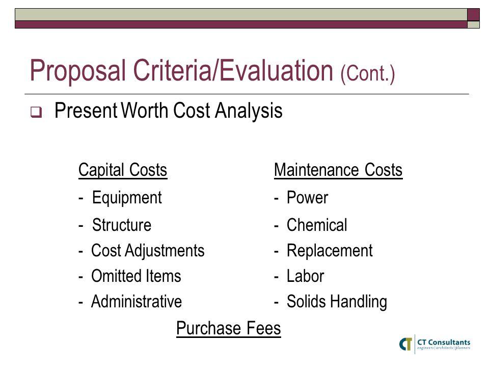Proposal Criteria/Evaluation (Cont.)