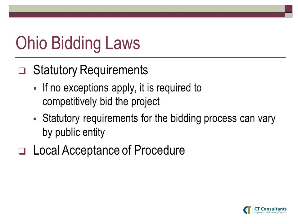 Ohio Bidding Laws Statutory Requirements Local Acceptance of Procedure