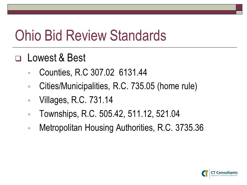 Ohio Bid Review Standards