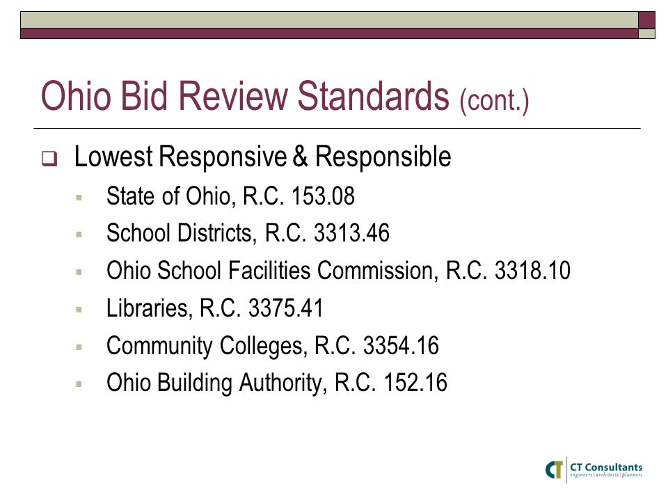 Ohio Bid Review Standards (cont.)