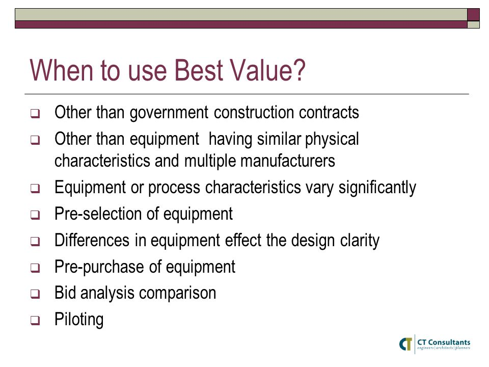 When to use Best Value Other than government construction contracts