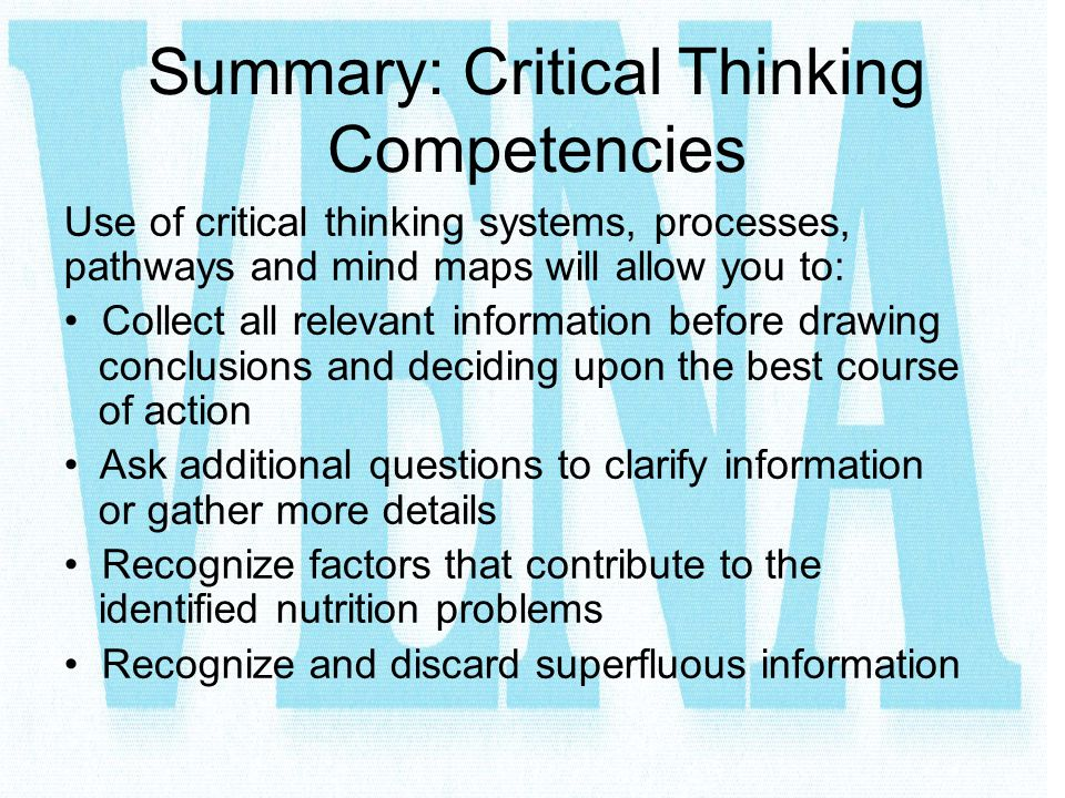 Summary: Critical Thinking Competencies
