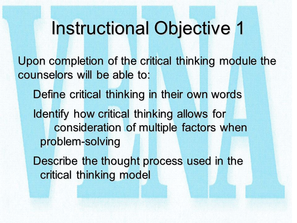 Instructional Objective 1