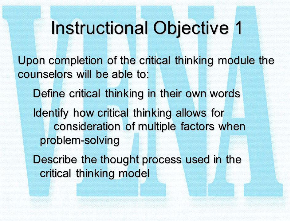 Instructional Objective 1