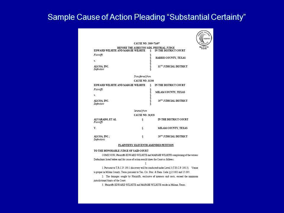 Sample Cause of Action Pleading Substantial Certainty