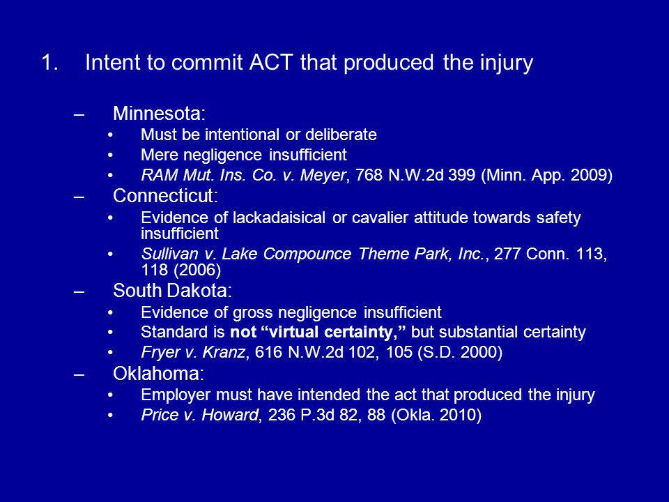 Intent to commit ACT that produced the injury