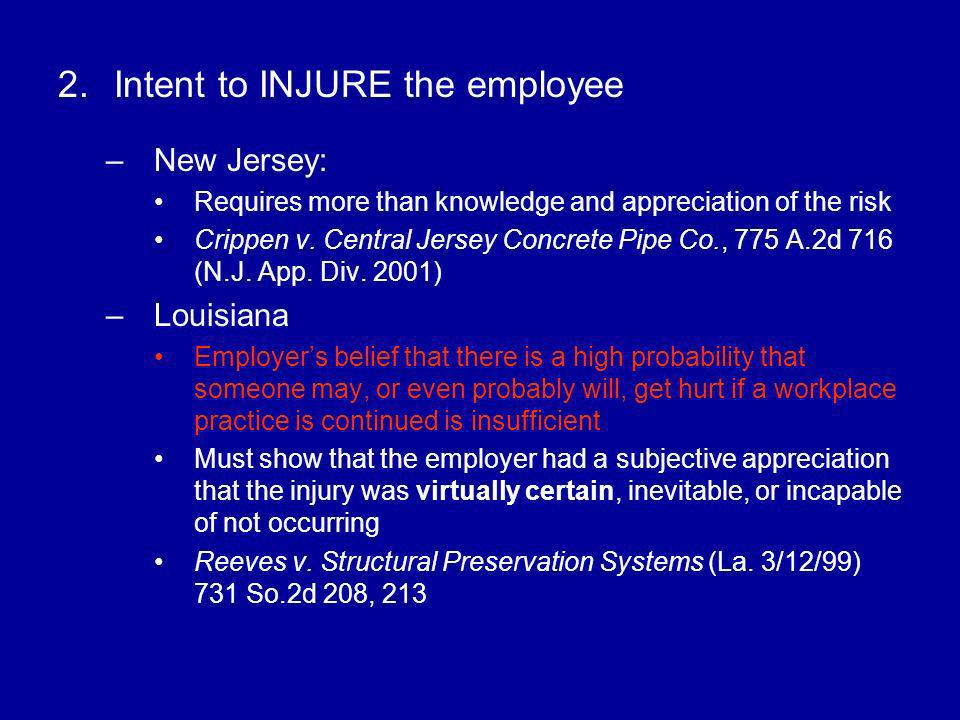 Intent to INJURE the employee