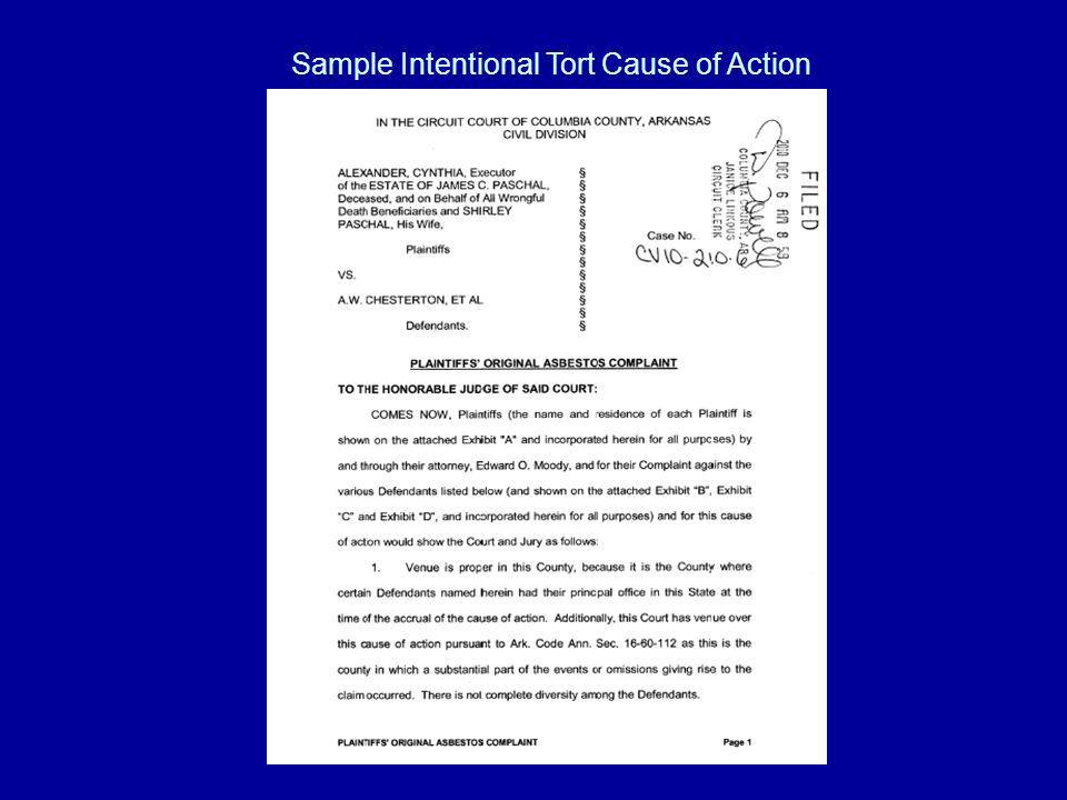 Sample Intentional Tort Cause of Action