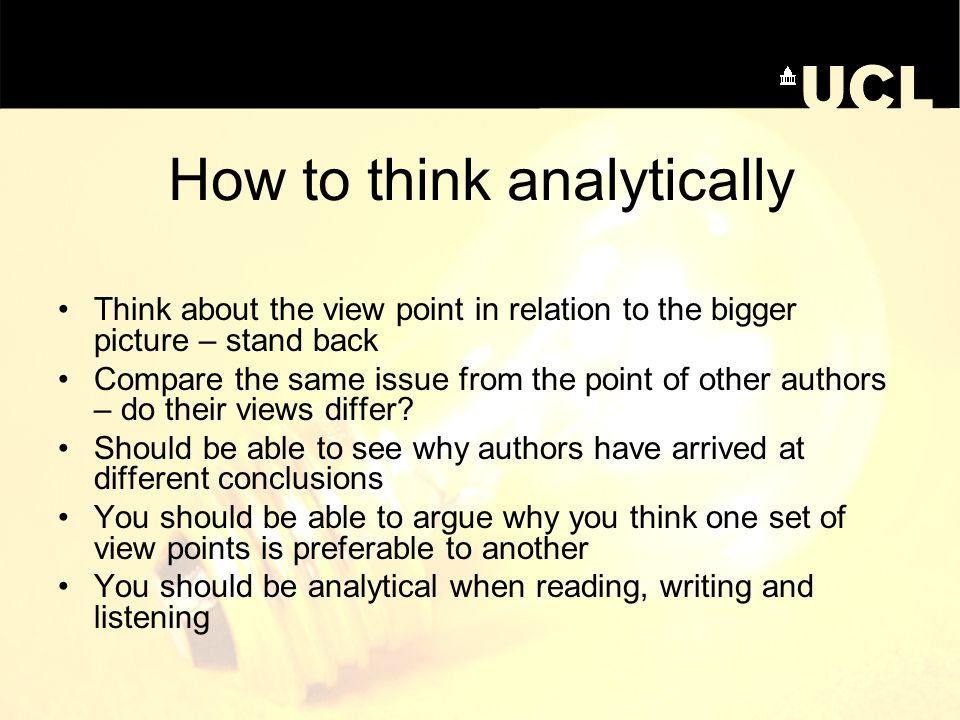 How to think analytically