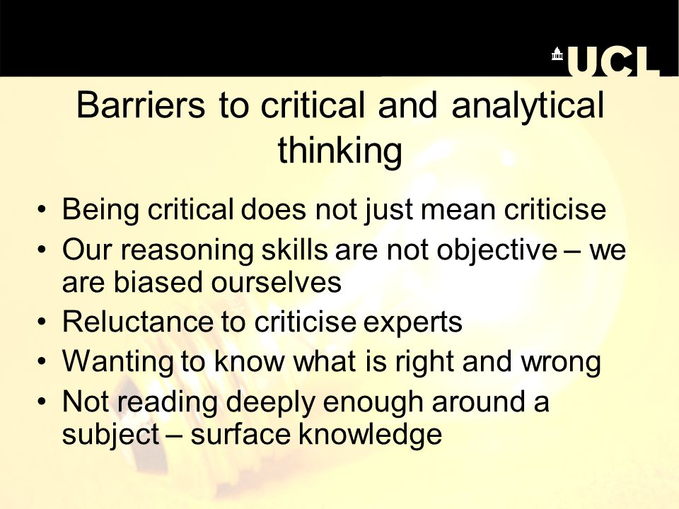 Barriers to critical and analytical thinking