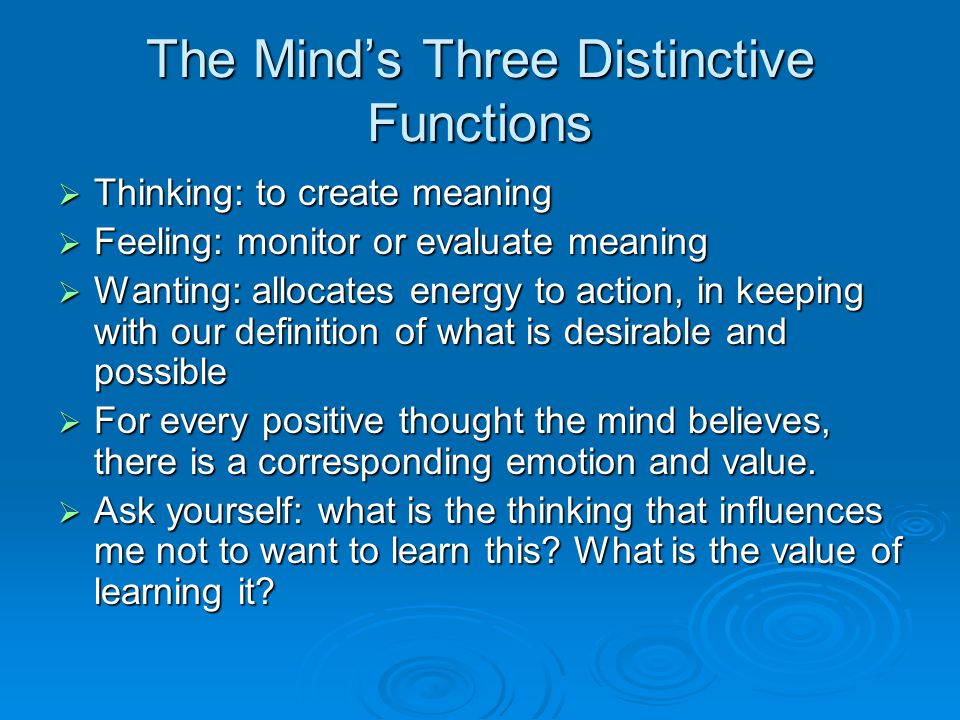 The Mind's Three Distinctive Functions