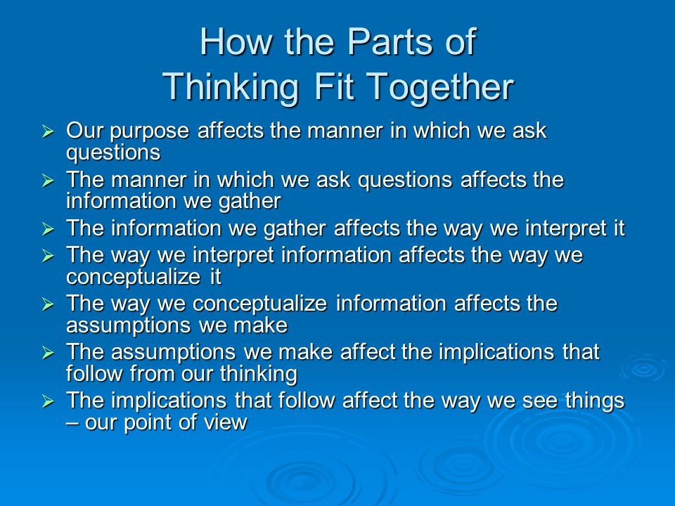 How the Parts of Thinking Fit Together