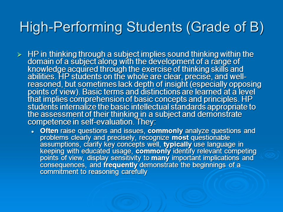 High-Performing Students (Grade of B)