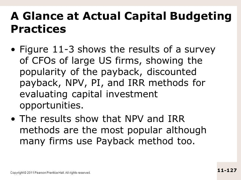 A Glance at Actual Capital Budgeting Practices
