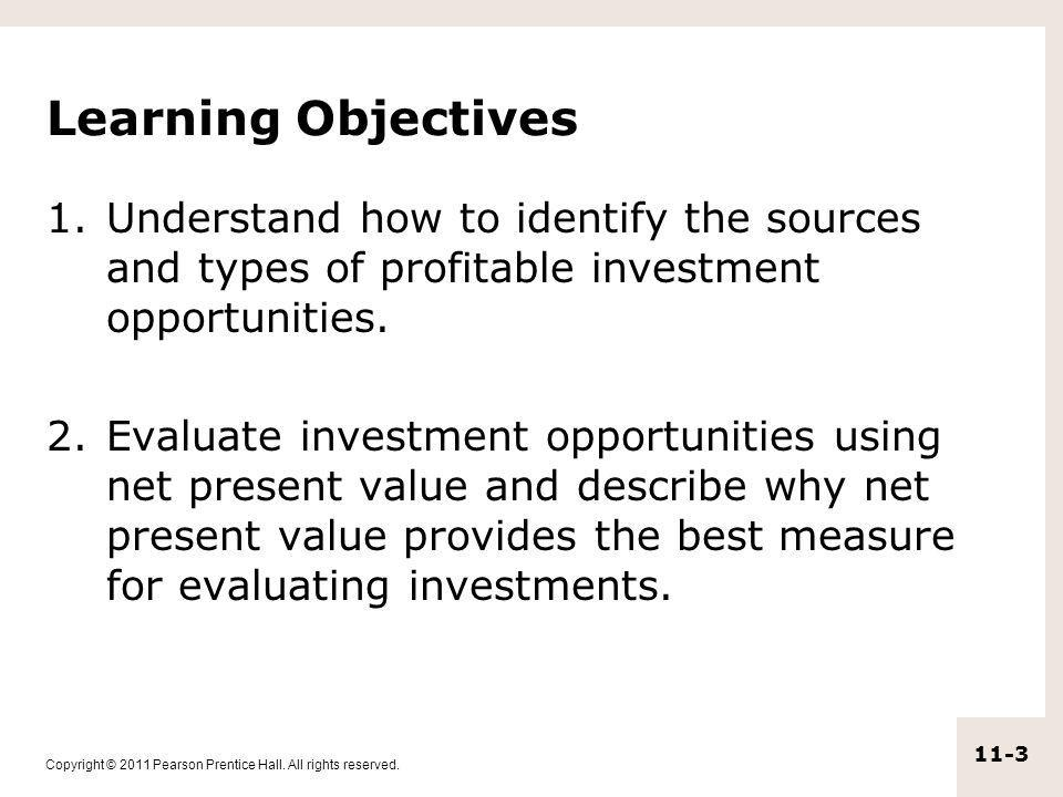 Learning Objectives Understand how to identify the sources and types of profitable investment opportunities.