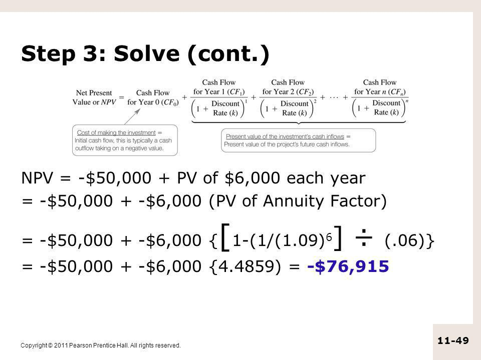 Step 3: Solve (cont.) NPV = -$50,000 + PV of $6,000 each year