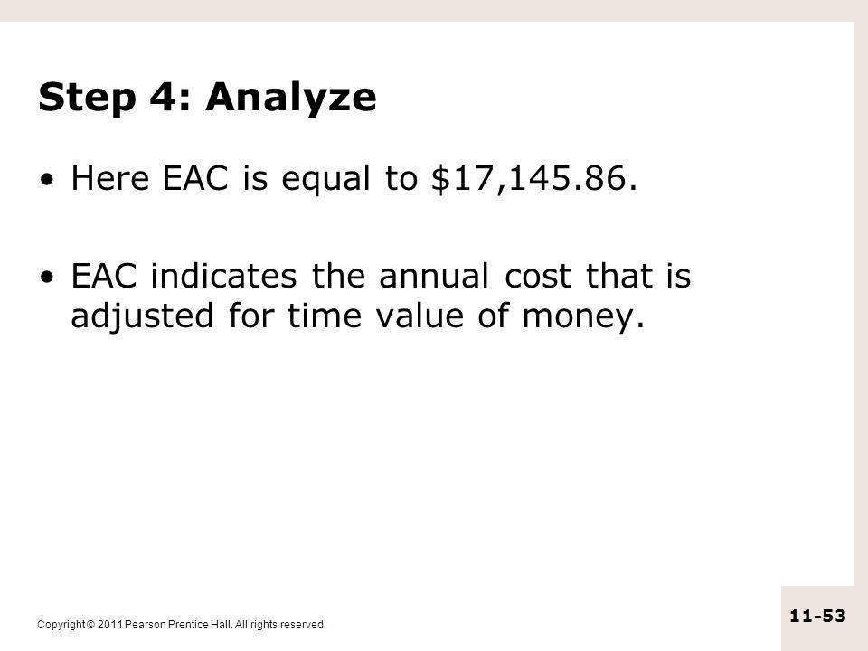 Step 4: Analyze Here EAC is equal to $17,