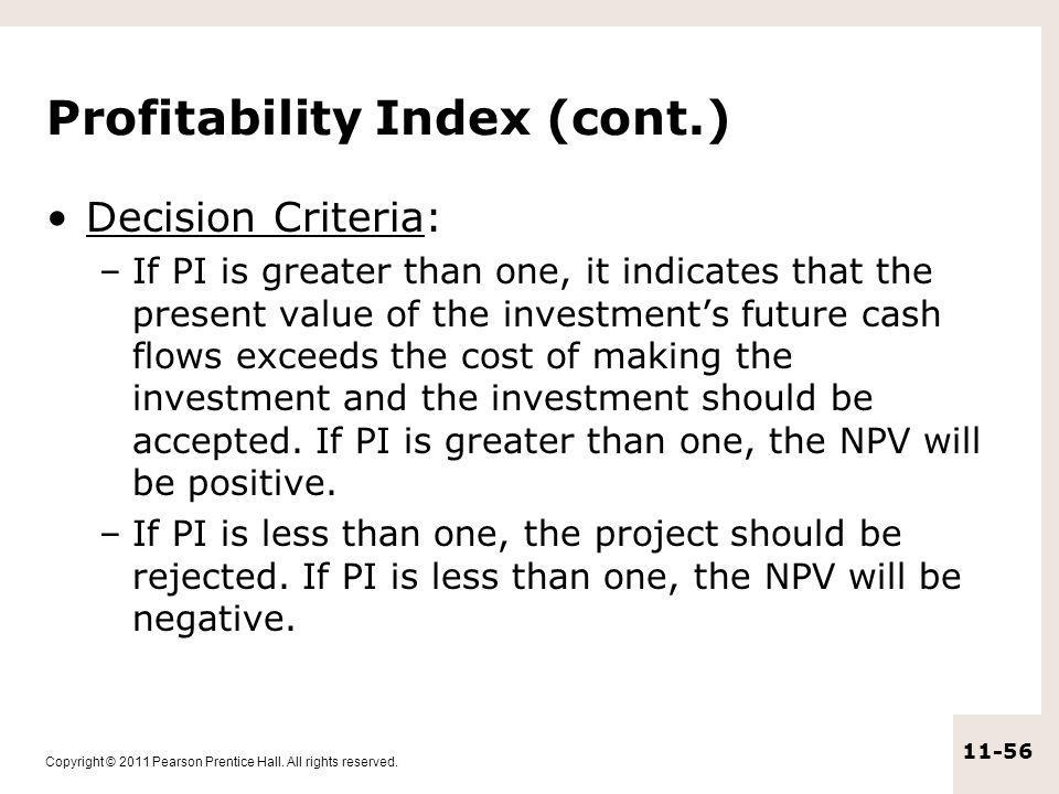 Profitability Index (cont.)