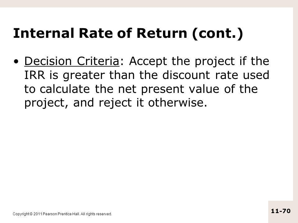 Internal Rate of Return (cont.)