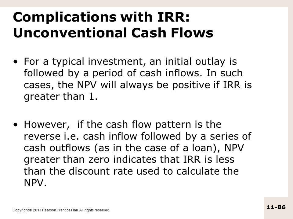 Complications with IRR: Unconventional Cash Flows