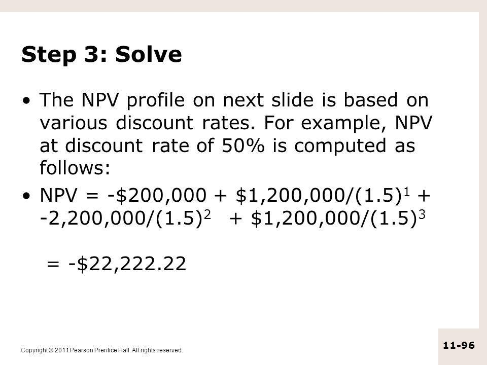 Step 3: Solve The NPV profile on next slide is based on various discount rates. For example, NPV at discount rate of 50% is computed as follows: