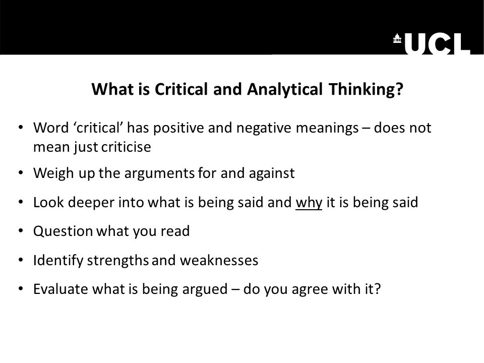 What is Critical and Analytical Thinking
