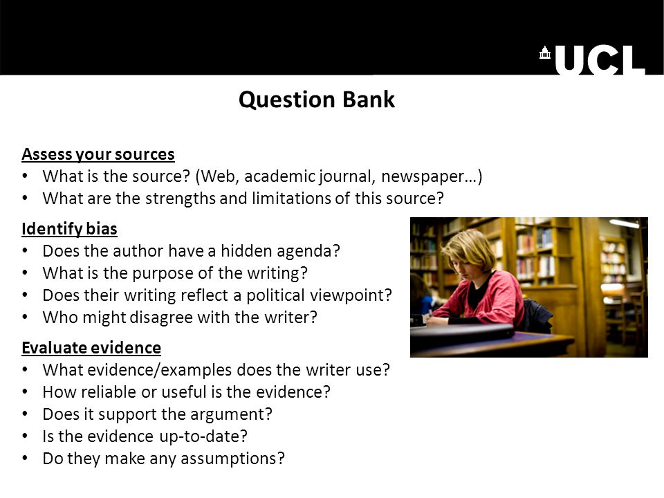 Question Bank Assess your sources